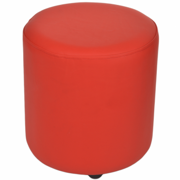 Full Grain Leather Handcrafted Round Stool Red: Worcester