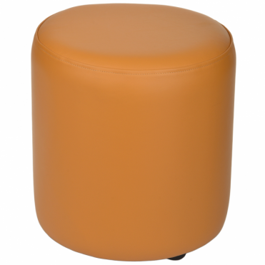 Full Grain Leather Handcrafted Round Stool Yellow: Worcester