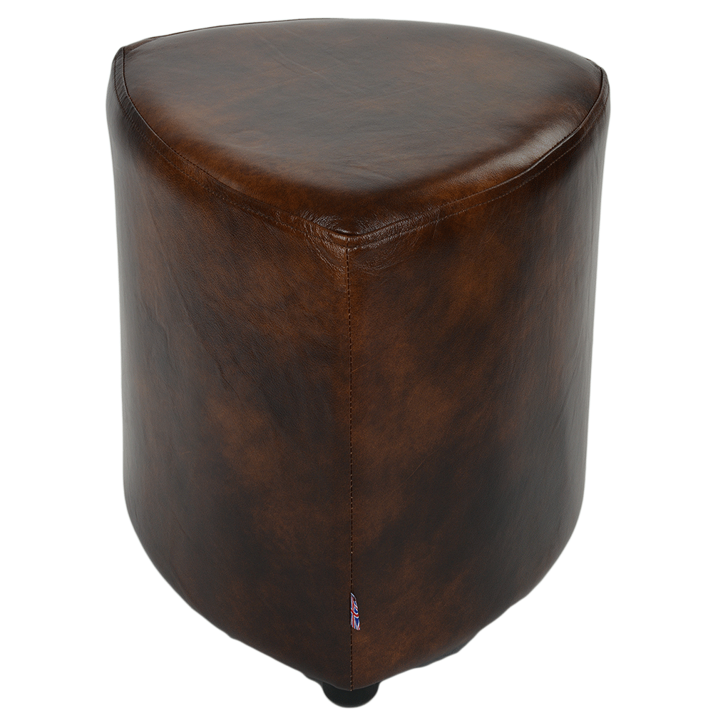 Grain Leather Handcrafted Vintage Corner Seat Stool Antique Brown ...