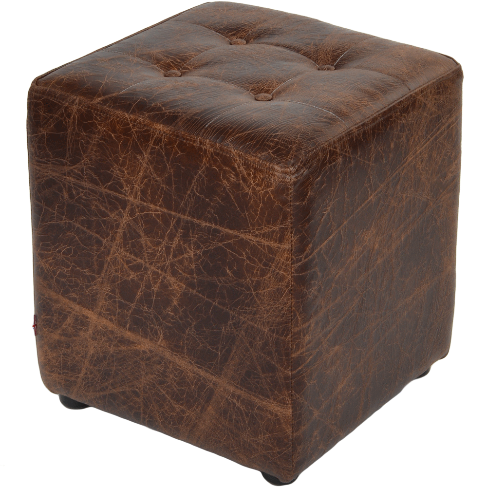 Full Grain Leather Handcrafted Vintage Stool Cube Brown