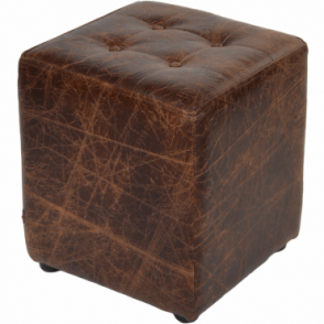 Full Grain Leather Handcrafted Vintage Stool Cube Brown Clay: Lincoln