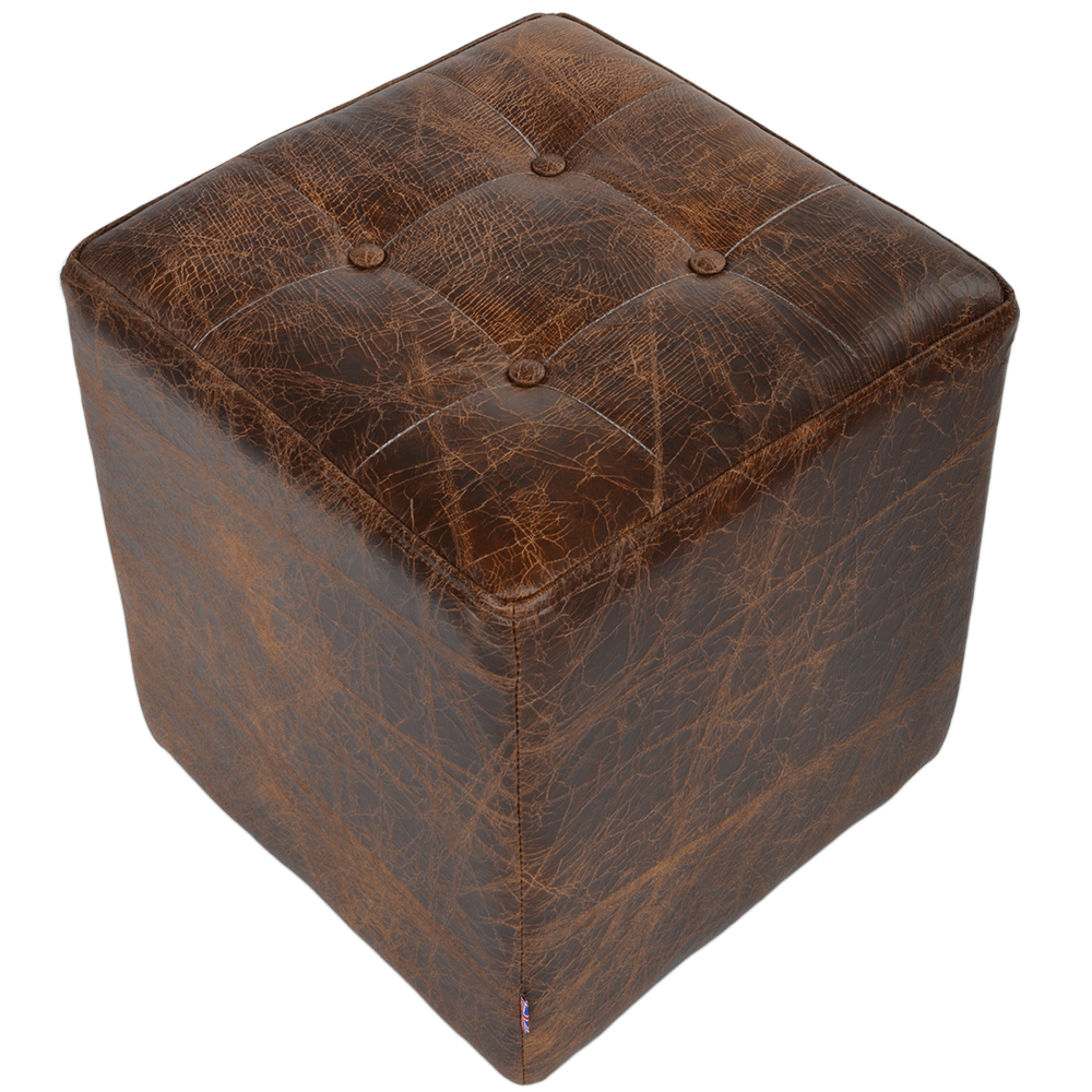 Ashwood Full Grain Leather Handcrafted Vintage Stool Cube