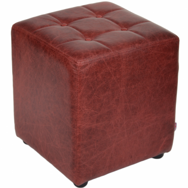 Full Grain Leather Handcrafted Vintage Stool Cube Cherry: Lincoln
