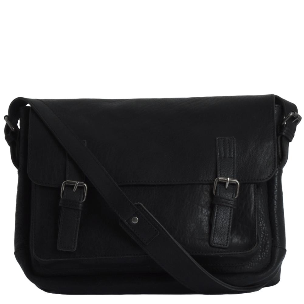 Full Grain Leather Medium Messenger Bag Black   Floyd b8eef56458577