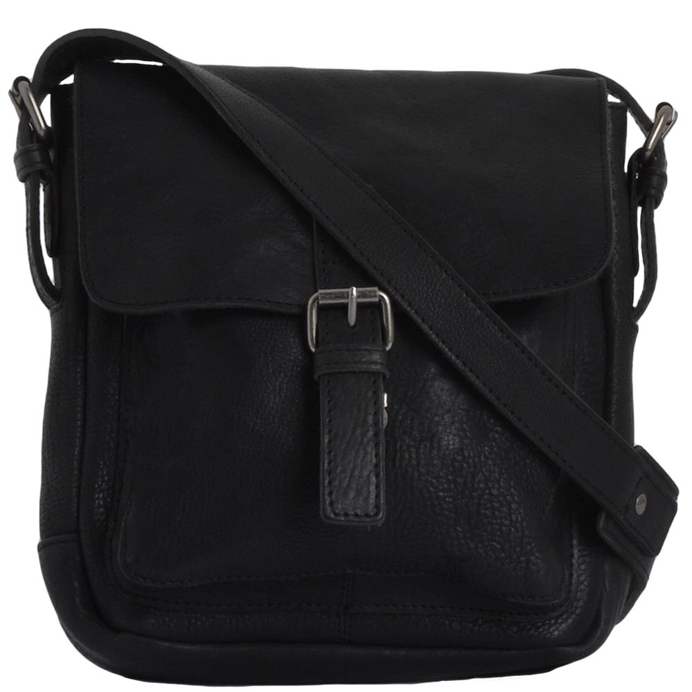 Mens Full Grain Leather Side Bag Black Ivan