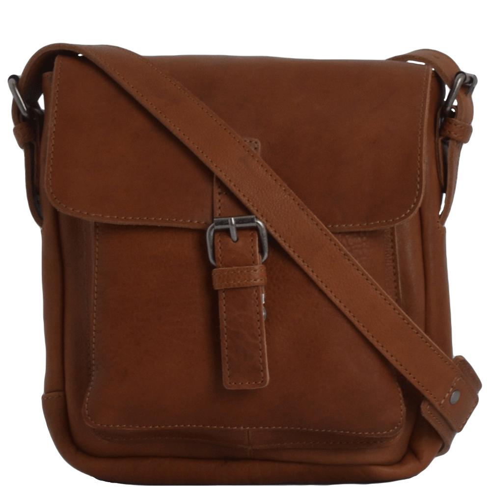 Mens Full Grain Leather Side Bag Tan Ivan