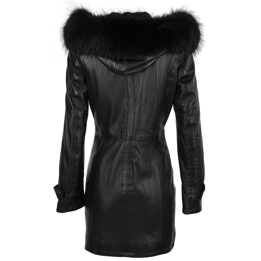 Fur Leather Hooded Coat Blackddy : Harriet