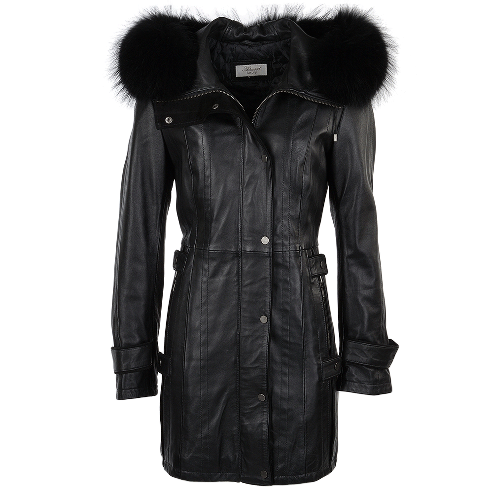 Womens Fur Leather Hooded Coat Black Ddy Harriet