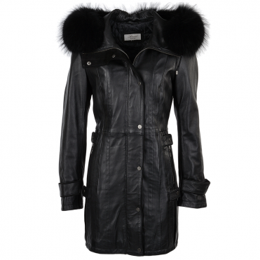 Fur Leather Hooded Coat Black/ddy : Harriet