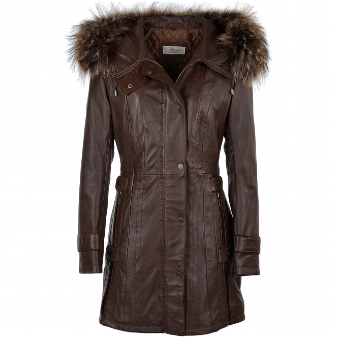 Ashwood Fur Leather Hooded Coat Brown/ddy : Harriet