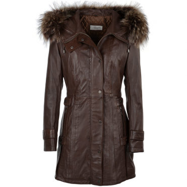 Fur Leather Hooded Coat Brown/ddy : Harriet