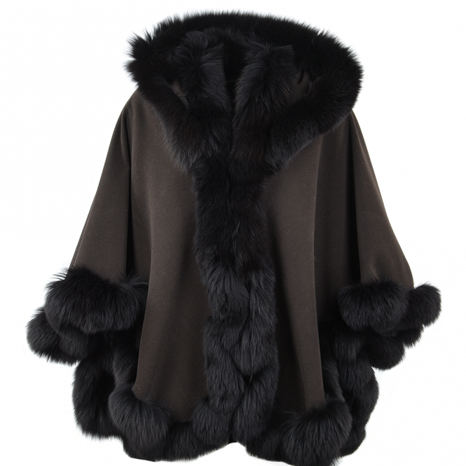 Ashwood Fur Poncho Brown : Sian
