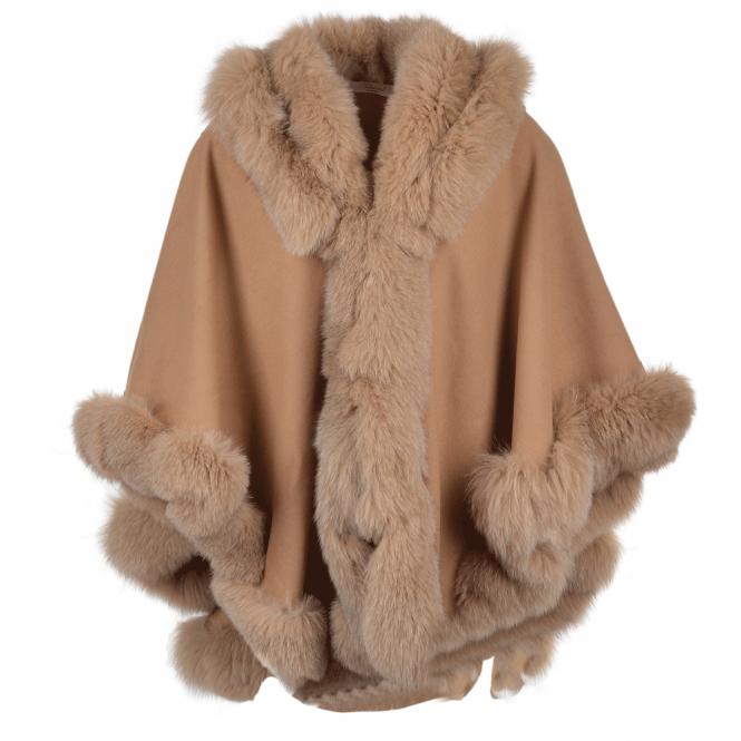 Womens Fur Poncho Camel Sian Women S Sheepskin Jackets