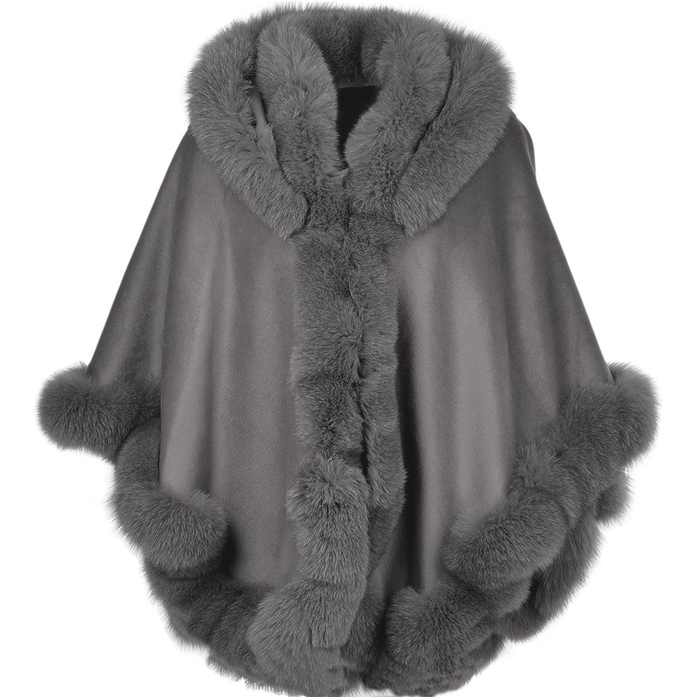 Womens Fur Poncho Grey Sian Womens Sheepskin Jacket
