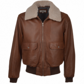 G-1 Bomber Leather Jacket With Removable Sheepskin Collar Cognac-2 : Victor