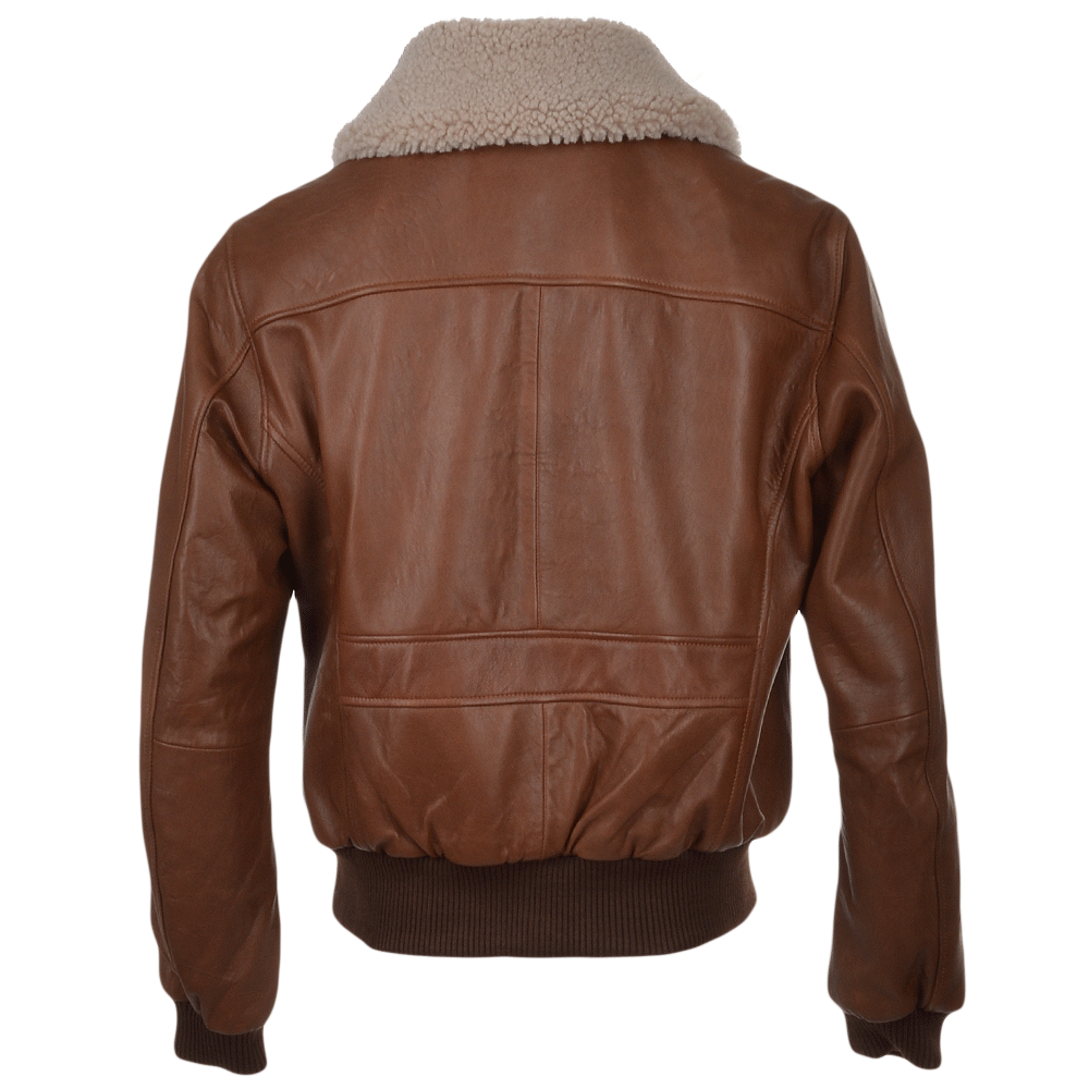 G 1 Bomber Leather Jacket With Removable Sheepskin Collar