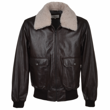 G-1 Bomber Leather Jacket With Removable Sheepskin Collar D-brn/1947 : Victor