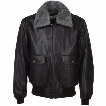 G-1 Bomber Leather Jacket With Removable Sheepskin Collar D-brn/fla : Victor