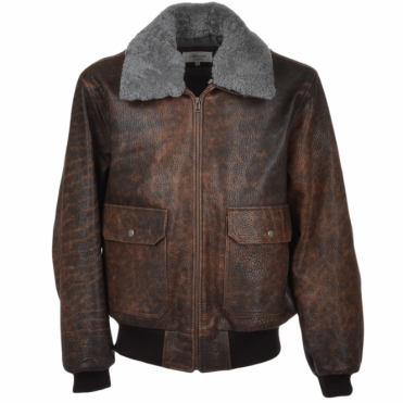 G-1 Bomber Leather Jacket With Removable Sheepskin Collar D-brn/pal : Victor