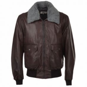G-1 Bomber Leather Jacket With Removable Sheepskin Collar D-brn/sun : Victor
