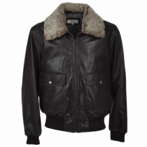 G-1 Bomber Leather Jacket With Removable Sheepskin Collar D-brn/zur : Victor