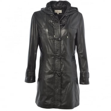 Gillian Duffle Leather Coat Black/app