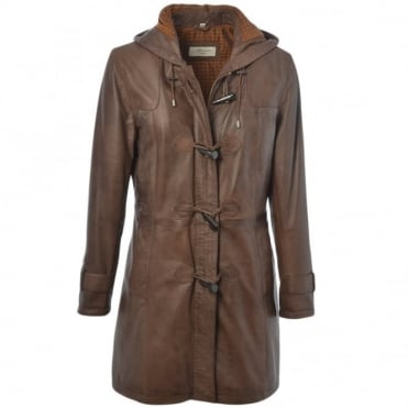 Gillian Duffle Leather Coat Brown/app