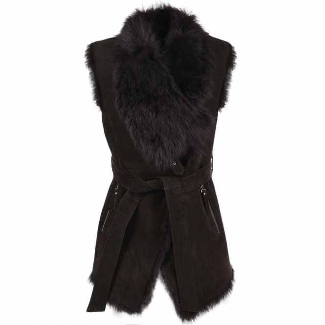 Ashwood Heritage Toscana Gilet With Suede Exterior Brown/snu : Elsa