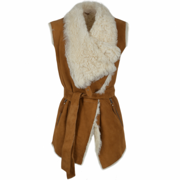 Heritage Toscana Gilet With Suede Exterior Tan : Elsa