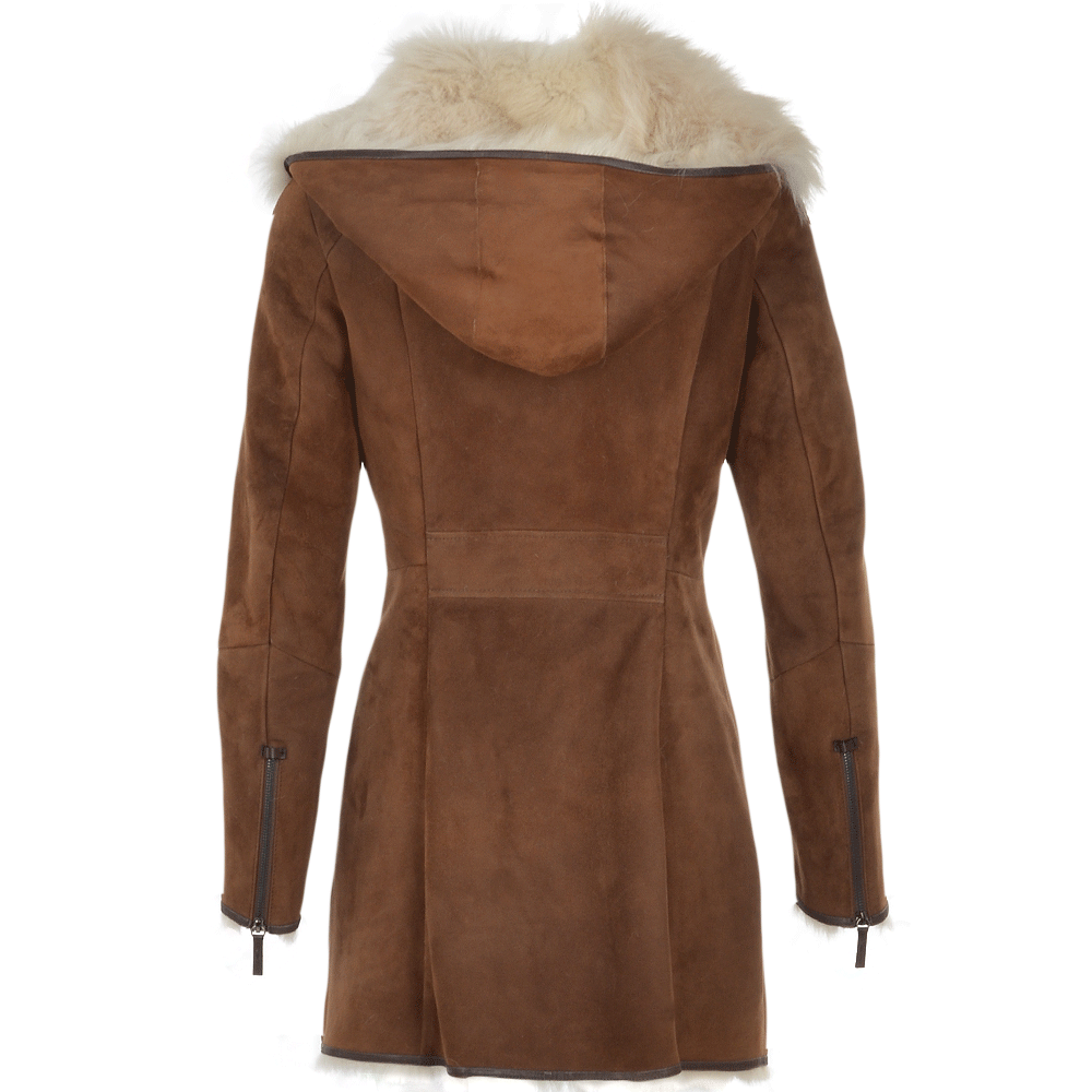 Hooded Toscana Coat Brown Lyonesse Women S Sheepskin