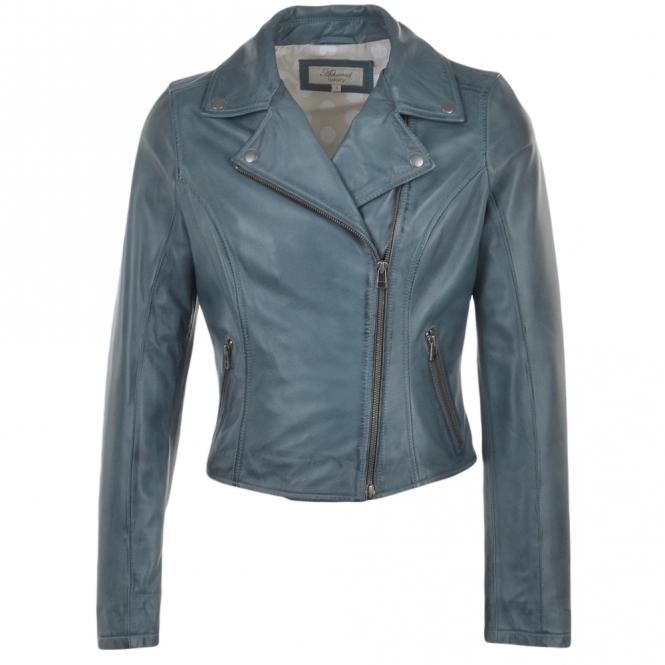 Ladies Leather Biker Jacket Blue Roxy Womens Leather