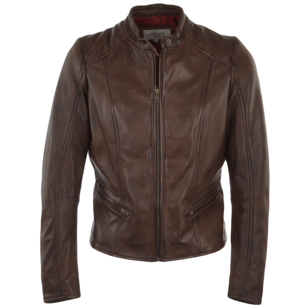 e567be7a0c Ladies Leather Biker Jacket Brown : Serefina | Womens Leather Jacket