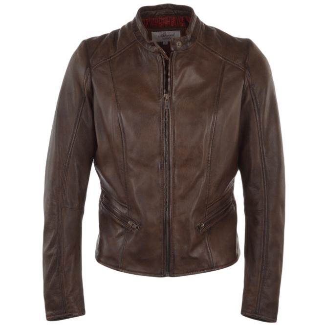 ladies leather biker jacket brown serefina womens