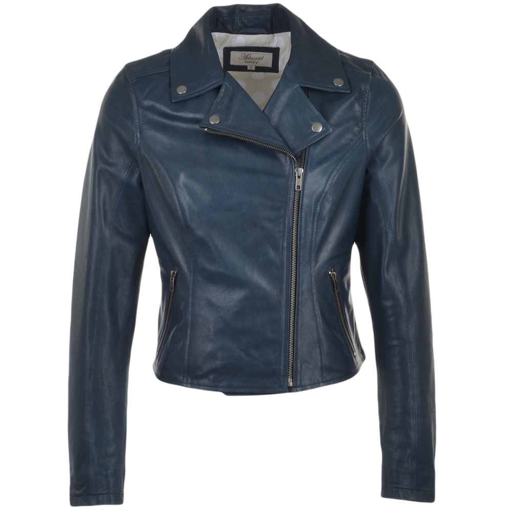 e6cc6cc9607 Ladies Leather Biker Jacket Navy   Roxy