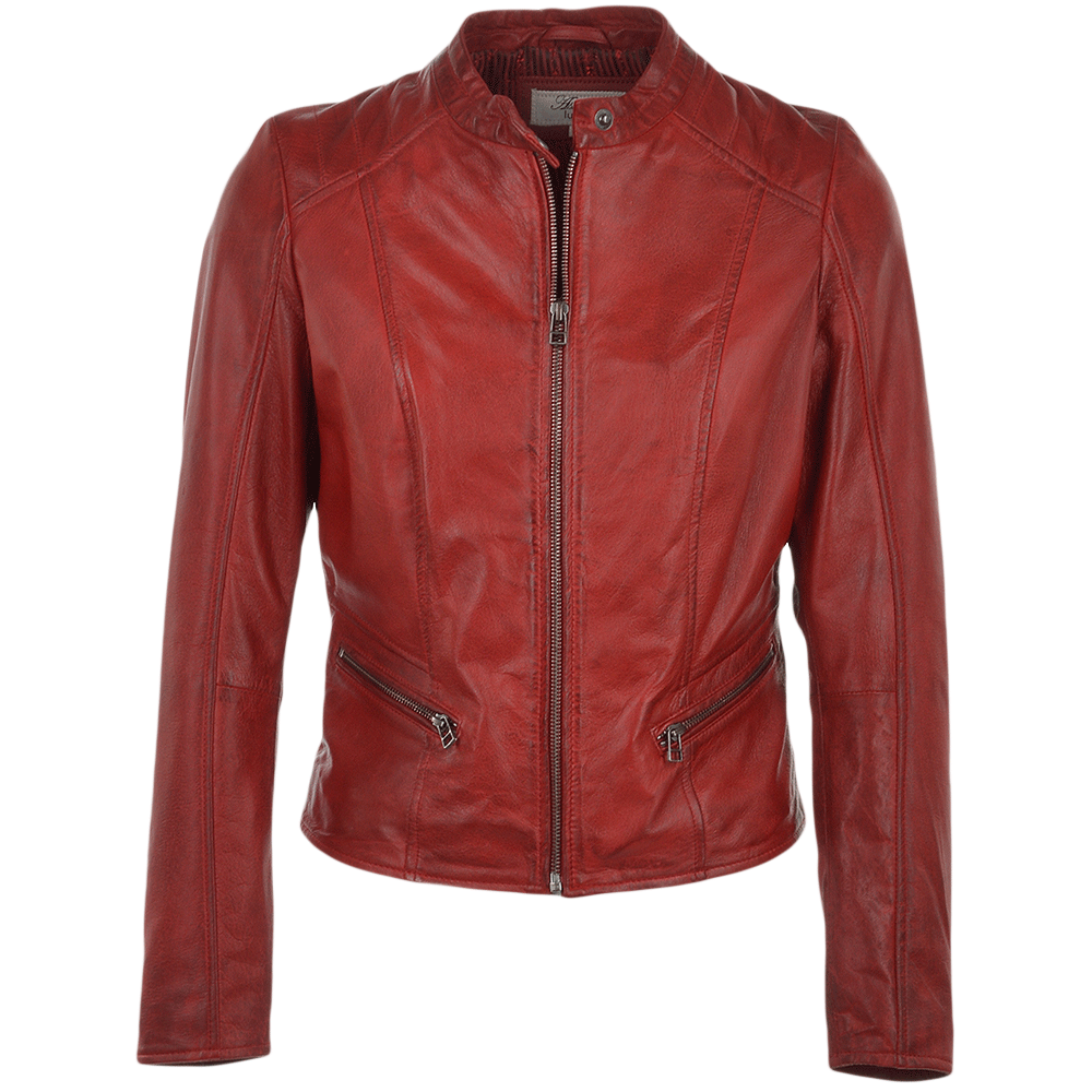 Ladies Leather Biker Jacket Red Serefina Womens