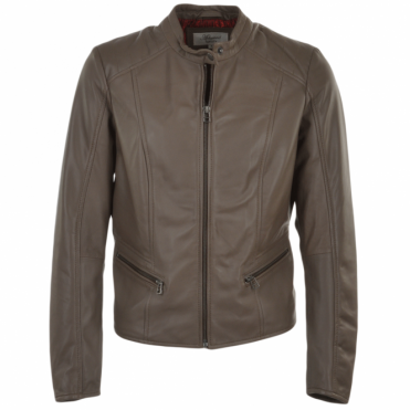 Ladies Leather Biker Jacket Taupe : Serefina