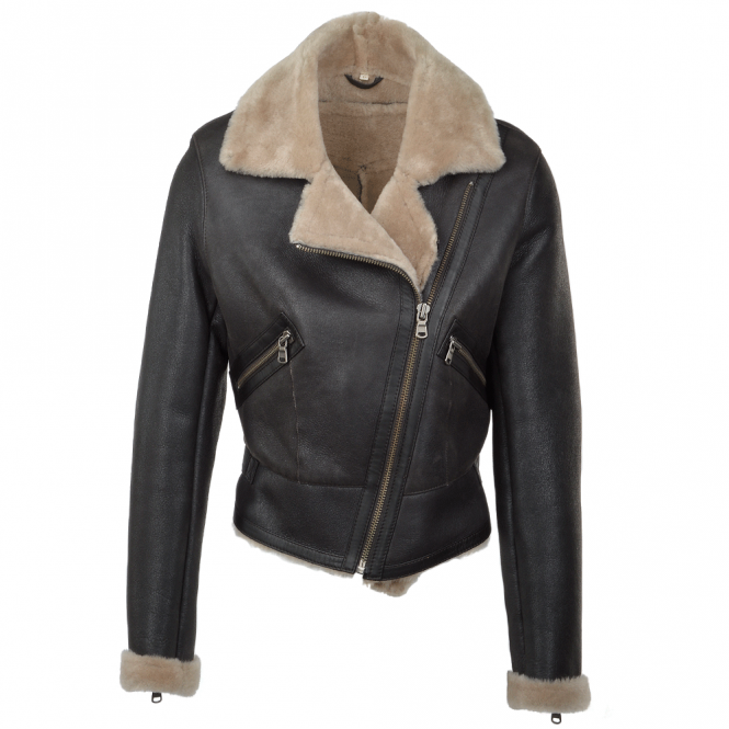 Ashwood Lamb Shearling Biker Pilot jacket Brown : Laverne