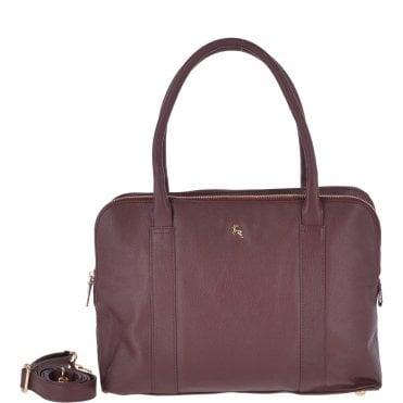 b2554f2e03a1 Large Leather 3 Section Work Bag Burgundy   Gina N