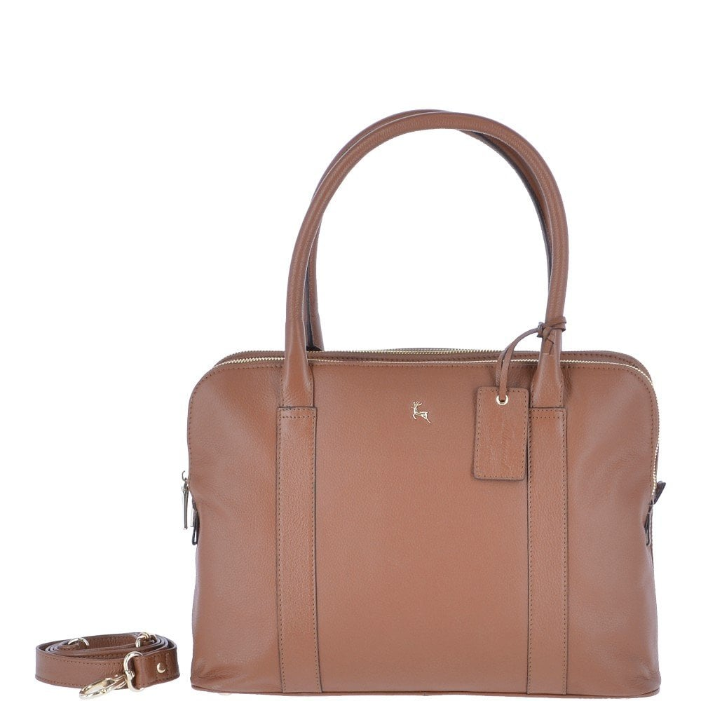 Large Leather 3 Section Work Bag Tan Gina N Handbags