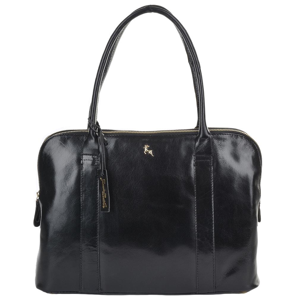 Large Leather Handbag Black/vt : Gina |Women's Bags