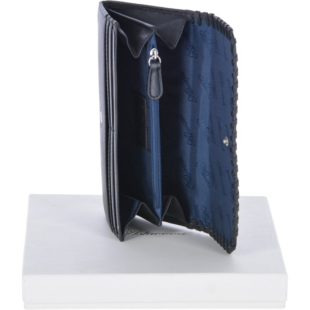 ASHWOOD Large Leather Note and Coin Purse Black  Ash-15 - Gift ... e272488ed57d0