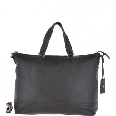 9db1acd104d9 Large Leather Shopper Bag Black   62102