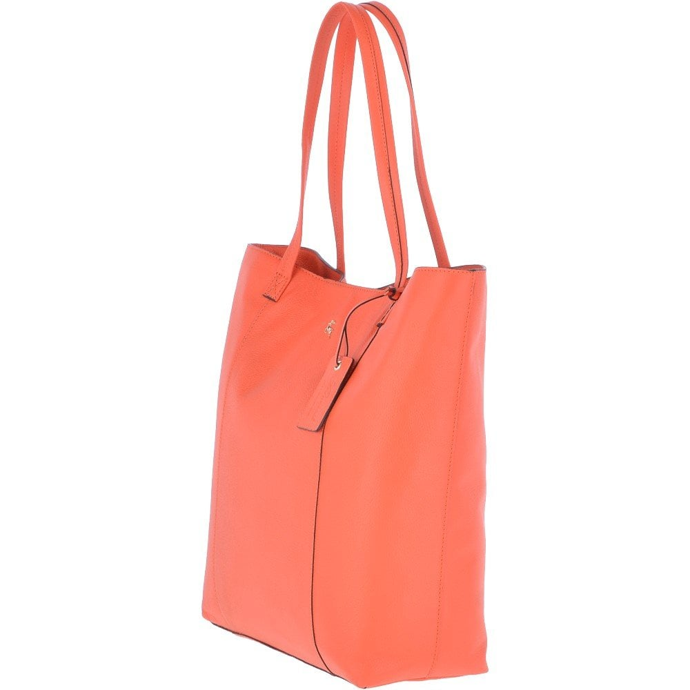 91cddbc17 Large Leather Shopper Tote Bag Orange : 61911 - Handbags from ...