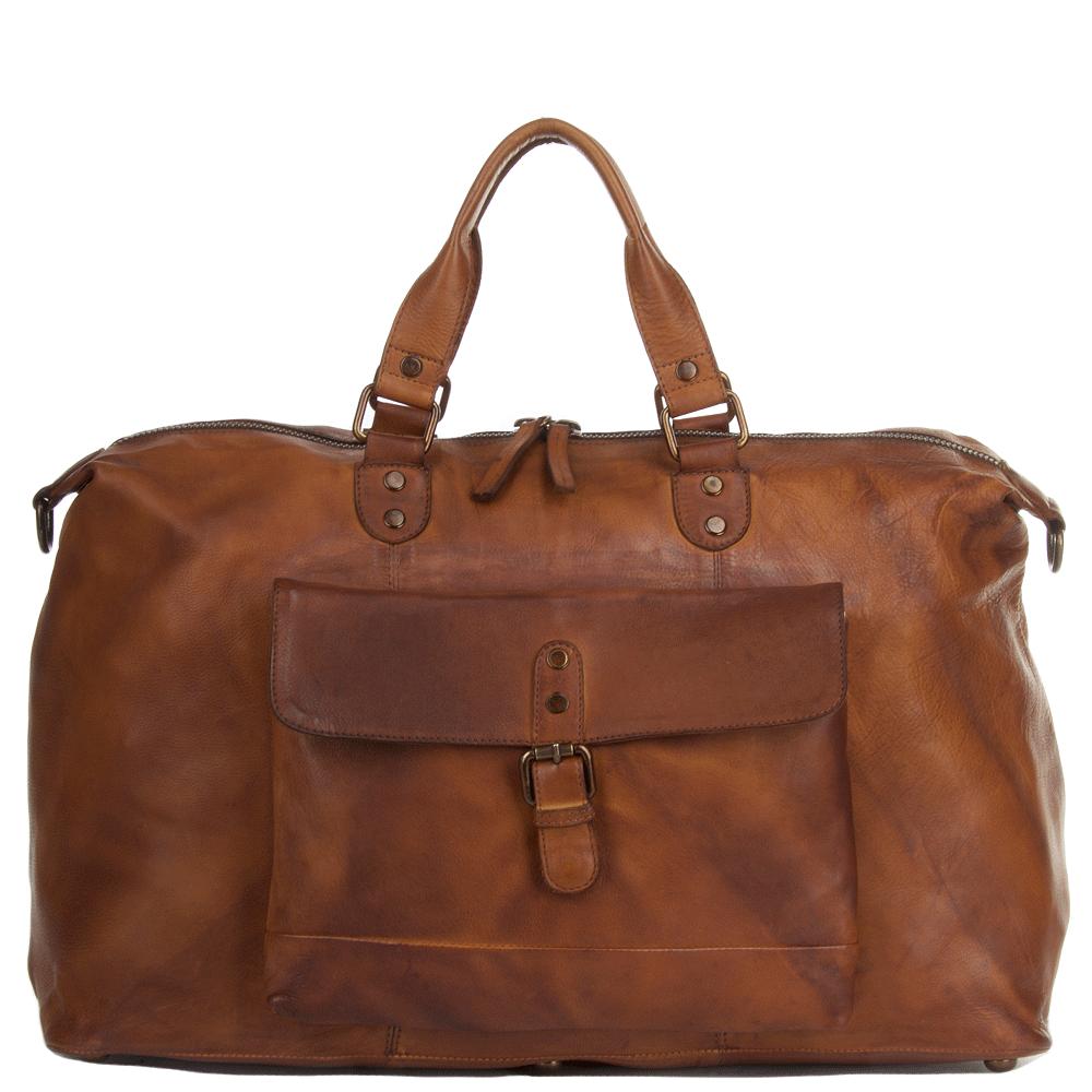Mens Large Leather Vintage Wash Travel Bag Rust 1337