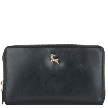 Large Vegetable Tanned Leather Note And Coin Purse Black : POH-1006