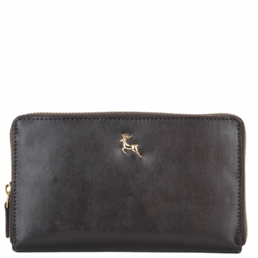 Large Vegetable Tanned Leather Note And Coin Purse Brown: POH-1006