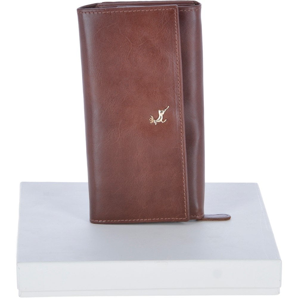 4270f39c649 Large Vegetable Tanned Leather Note And Coin Purse Caramel / Brown: POH-1003