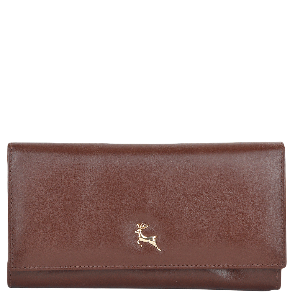 601aeccbcb1 Large Vegetable Tanned Leather Note And Coin Purse Chestnut : POH-1003
