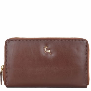 Large Vegetable Tanned Leather Note And Coin Purse Chestnut : POH-1006