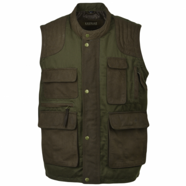 Leather And Canvas 2-in-1 Sleevless Jacket-Gillet Green/brown : Bodmin